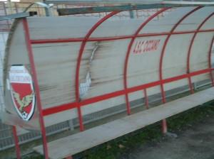 La panchina dello stadio Magnotti di Cicciano