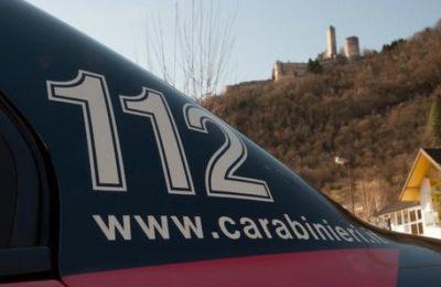 Carabinieri Borgo Valsugana, scritta 112 e www.carabinieri.it. ANSA/CARABINIERI BORGO VALSUGANA