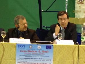 Manfredi, a destra, con Michele Mezza