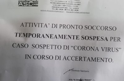 Caso sospetto di coronavirus, chiuso pronto soccorso ospedale Santa Maria Capua Vetere